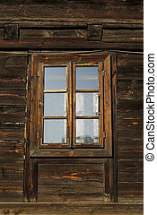 window of old wooden house