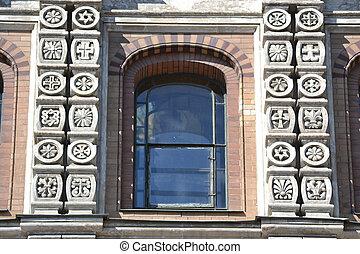 Window of orthodox cathedral Spas na Krovi - Ornate window...
