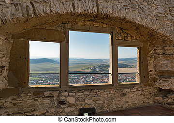 Window of Spis Castle in Slovakia. Spissky hrad, National...