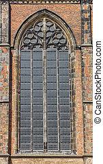 Window of the historic Dom church in Utrecht