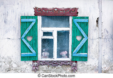 Window of the old house in the Russian village
