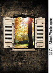 Window - old window with wall in retro design look