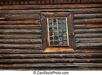 Window old wooden church built of