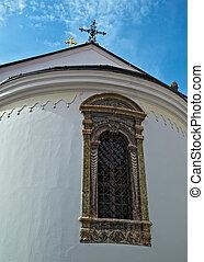 Window on a church at monastery Krusedol in Serbia