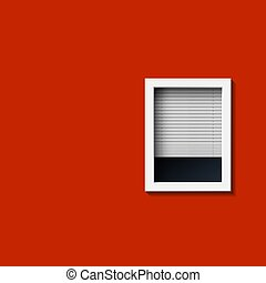 Window on a red wall.
