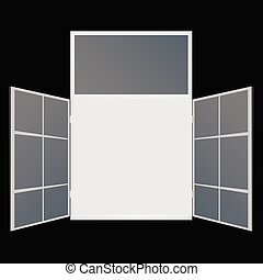 window on black background
