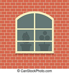 Window On Brick Wall Background.
