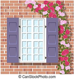 window on brick wall background