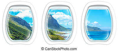 Aerial view of Misty Cliffs, Cape Peninsula in South Africa, from a plane through the porthole windows. Copy space.