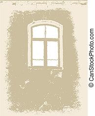 window on grunge background, vector illustration