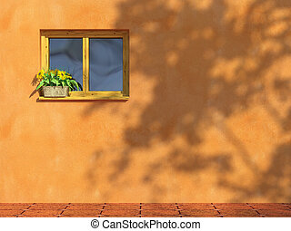 window on orange wall