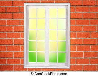window on the brick wall
