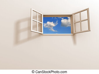 Window open to the sky. 3d render illustration