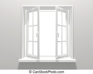 Window - Opened plastic window. 3d render
