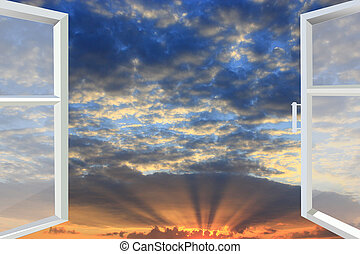 window opened to the sunset - white window opened to the ...