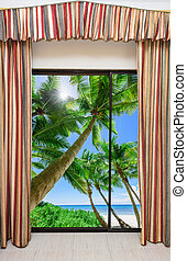 window overlooking the beach - a large window with a curtain...