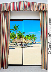 window overlooking the beach
