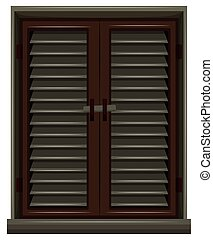 Window painted in brown color illustration
