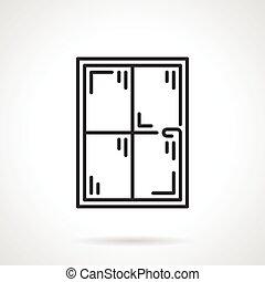 Window panes black line vector icon