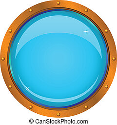 Bronze ship window - porthole with a blue background, isolated on the white