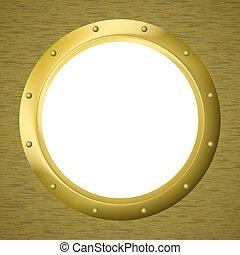 Window porthole in a wall - Vector empty gilded window - ...