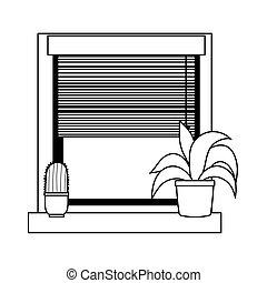 window potted plant and cactus decoration isolated icon line style