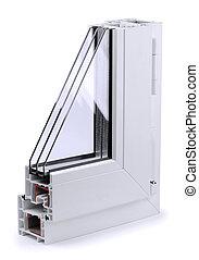 Window profile - Section of plastic window profile isolated...