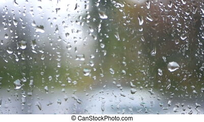 Window rain speed train road - Close up of window glass with...