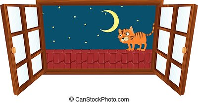Window scene with little cat on the roof at night