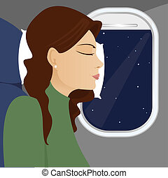 Window Seat Sleeping - Woman leans against the airplane...