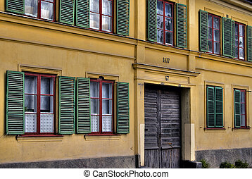 Window shutters - Green shutters on old facade from the...