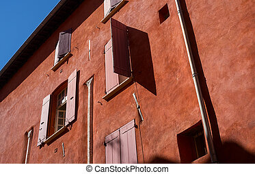 Window shutters in a medieval quarter