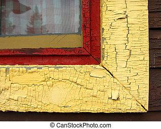 window sill - detail peeling paint on old window