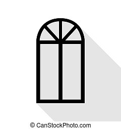 Window simple sign. Black icon with flat style shadow path.