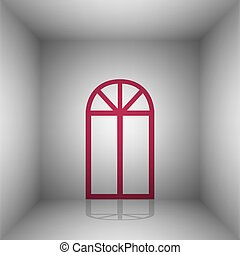 Window simple sign. Bordo icon with shadow in the room.