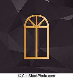 Window simple sign. Golden style on background with polygons.