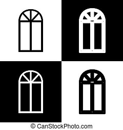 Window simple sign. Vector. Black and white icons and line icon on chess board.
