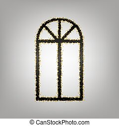 Window simple sign. Vector. Blackish icon with golden stars...