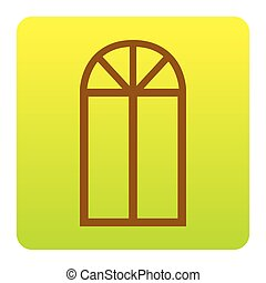 Window simple sign. Vector. Brown icon at green-yellow gradient square with rounded corners on white background. Isolated.