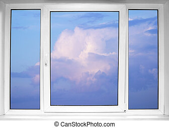 Sky seen through an white window