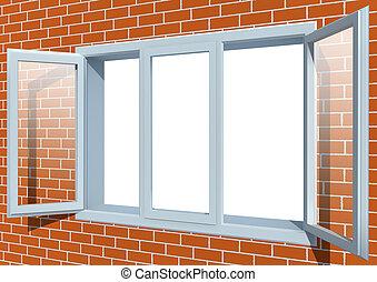 Window - Brick wall with the open window