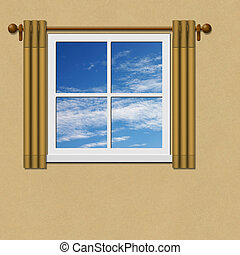 Window - A Window with Curtains - Drapes and Blue Sky