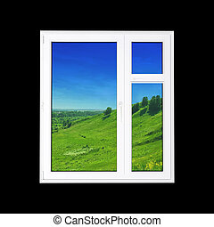 Window - window at black wall and the summer landscape