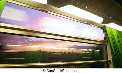Window train railway - Passenger train goes by railway to...