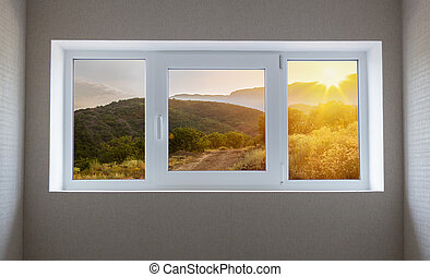 Window view of a beautiful mountain landscape