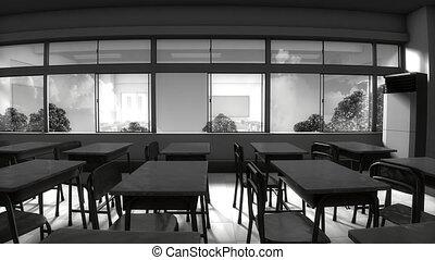 Window view of empty classroom