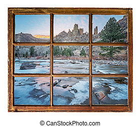 window view on a mountain river