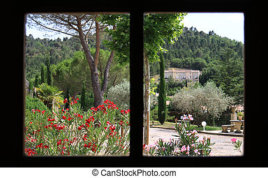 Window View - Rural view out of window panes in Provence, ...