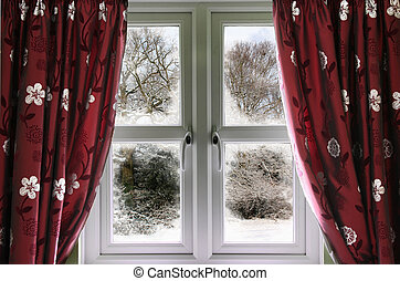 Window view to a snow scene