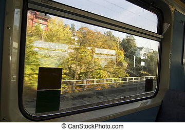 Window View - View from inside a car on a local Oslo train.